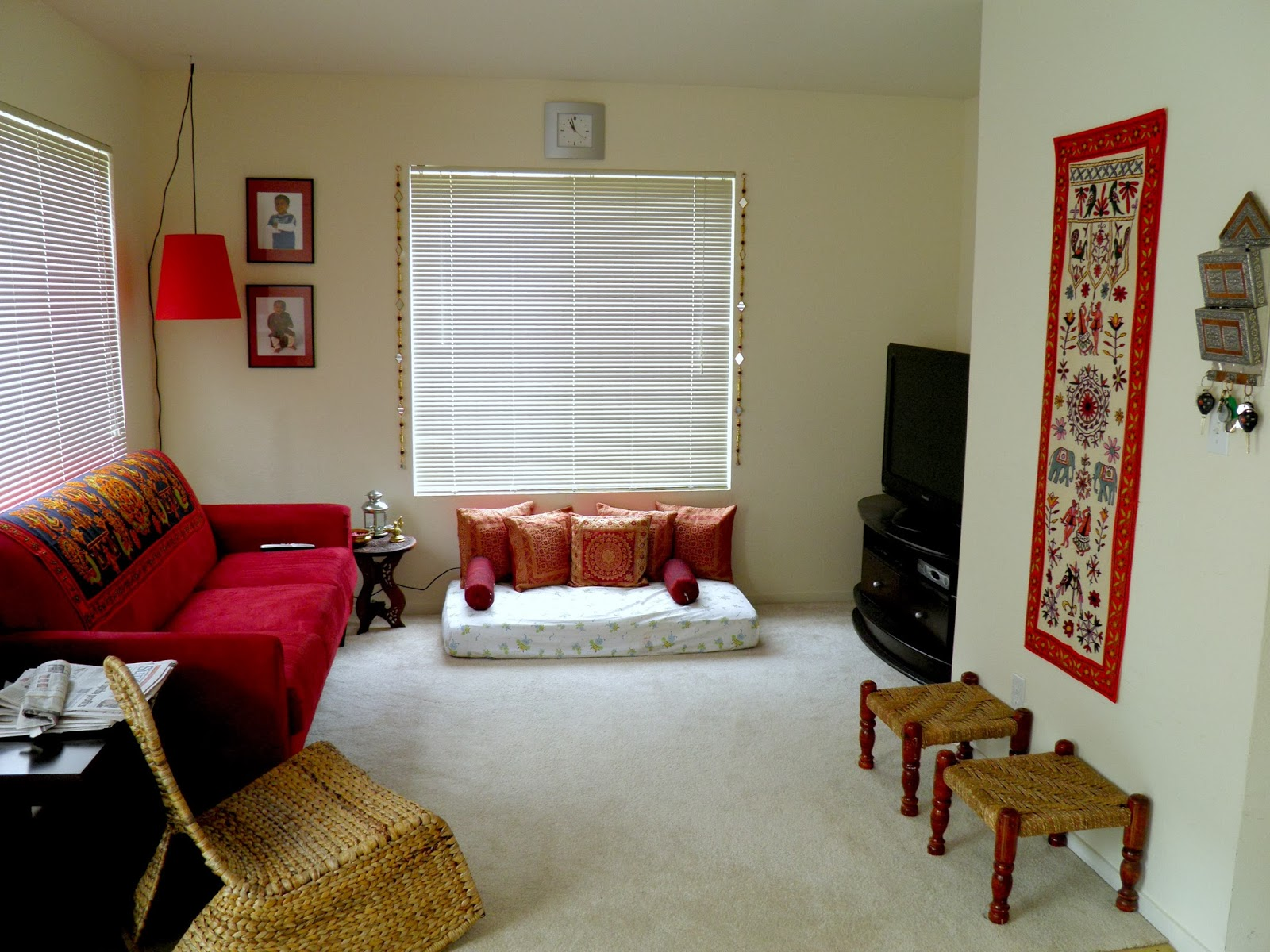 Weekend tweaks changes in the family room for Living room decorating ideas indian style