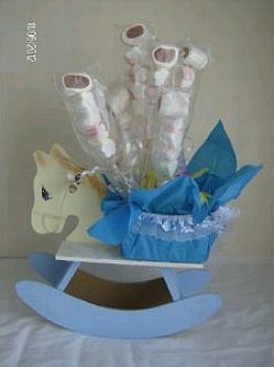 Centros de mesa para bautizo de ni o parte 1 - Como hacer centros de mesa con dulces para bautizo ...