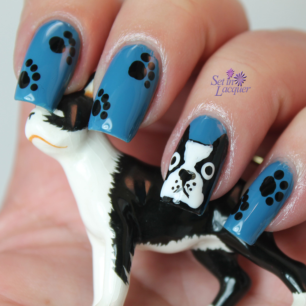 Boston Terrier dog nail art
