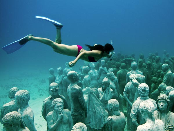 museo subacuatico en cancun, rivera maya, turismo, buceo, arte submarino