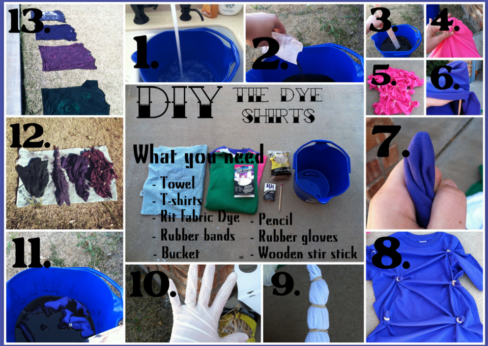 03c48786481b Fill bucket up with hot water  until shirts can be fully submerged  2. Add  packet of black Rit Dye 3. Stir 4. Tie rubber bands around chunks of fabric