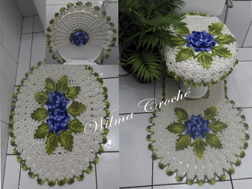Wilma Crochê Jogo de Banheiro em Crochê Com Passo a Passo -> Jogo De Banheiro Simples Em Croche Passo A Passo