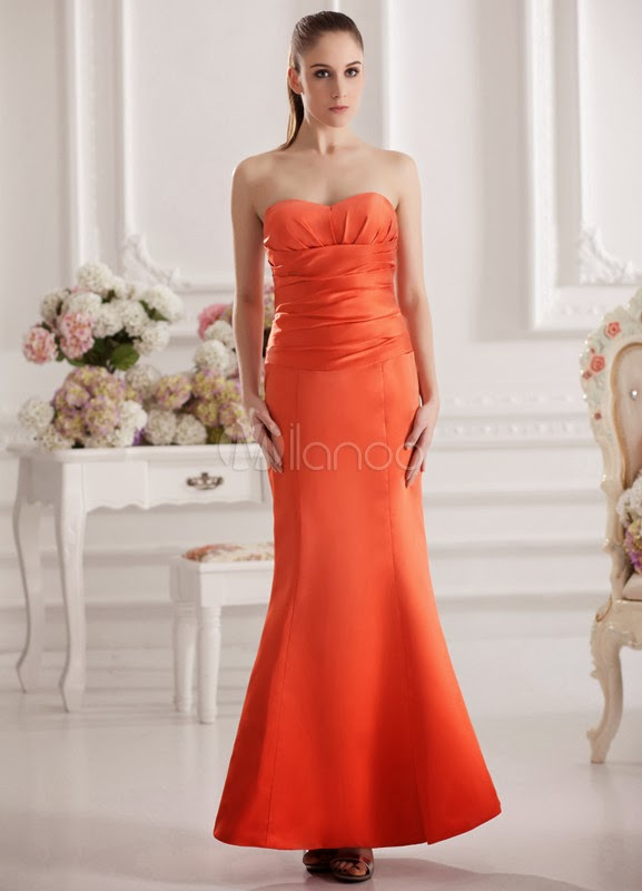 Beautiful Mermaid Orange Satin Sweetheart Neck Ankle-Length Wedding Bridesmaid Dress