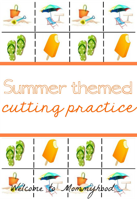Free Montessori Printables: Summer Cutting Practice by Welcome to Mommyhood #montessori, #toddleractivities, #montessoriactivities, #freeprintables