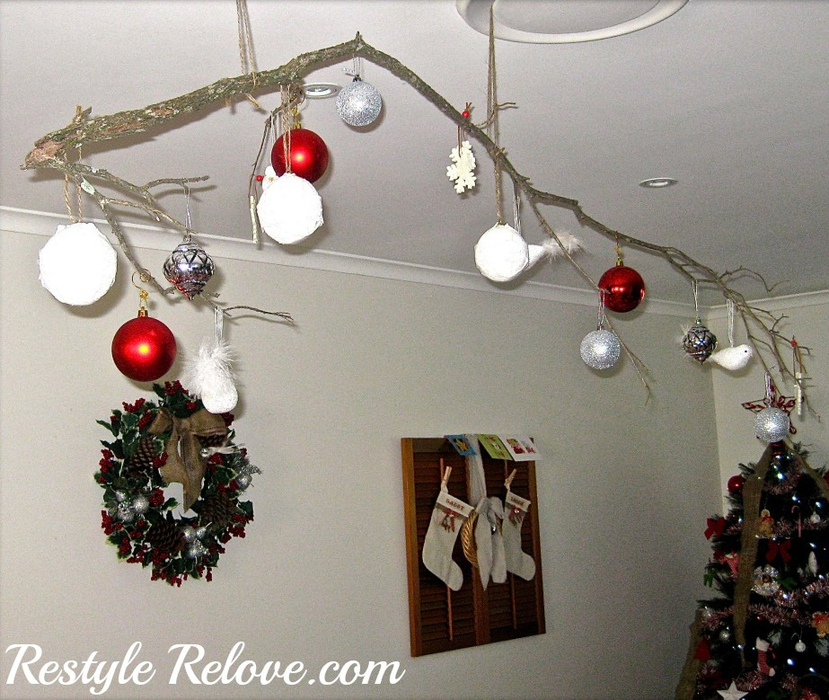 Hanging christmas ornament tree branch for Christmas ceiling decorations