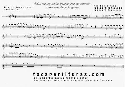 No me toques las palmas que me conozco de María Isabel Partitura para Saxofón Alto e instrumentos en clave de sol