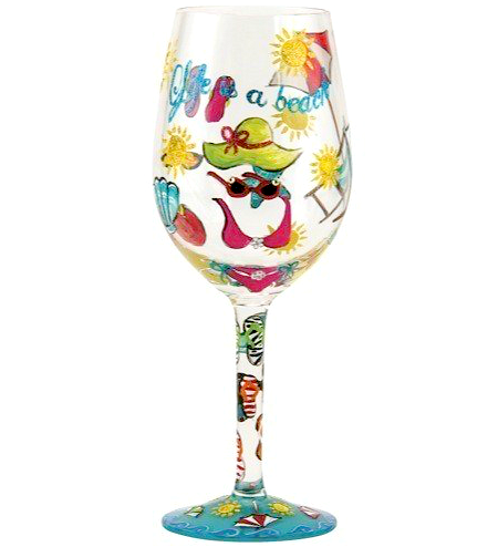 Painted Beach Wine Glass with Life is a Beach Quote