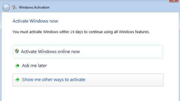Windows 7 re activation through online, windows activation through command prompt, windows activation,  windows seven product key changing, windows activation again methods, windows re-activation methods