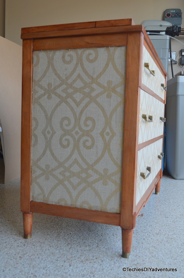 Fabric wrapped wooden dresser