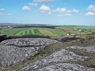 View from Helman Tor Cornwall over farm land