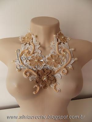 colar de renda, renda de guipir, flor de guipir, colar feminino, colar, croche, colar de croche