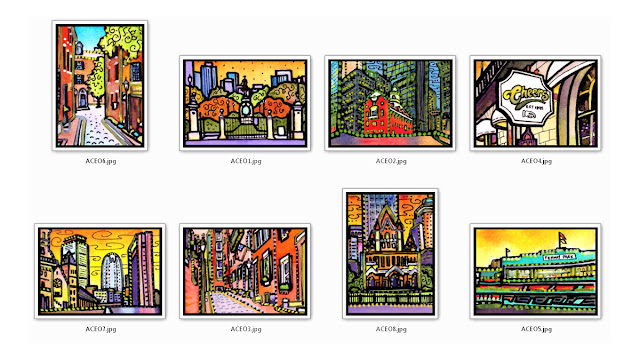 Boston ACEO Art Cards by Lynne Neuman