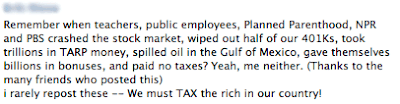 Facebook post with added words for oil in the Gulf, billions in bonuses and paid no taxes.