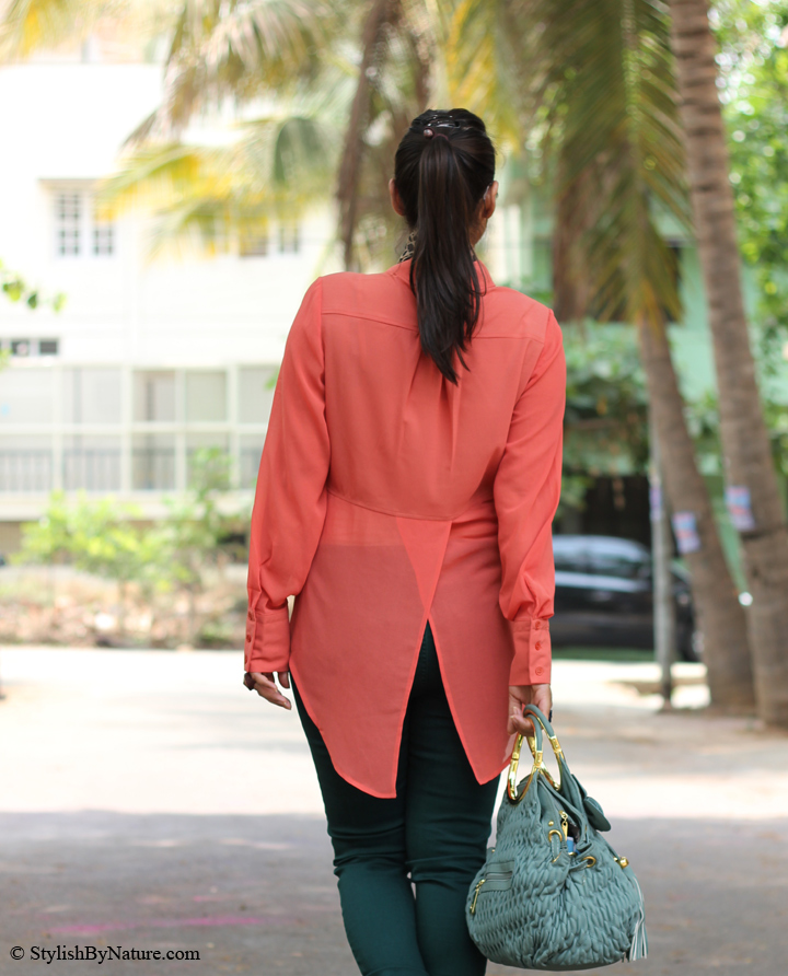 Tulip back High-low hemline sheer shirt