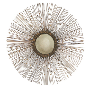 sunburst metal wall decor with fisheye mirror center5399 - Sunburst Wall Decor