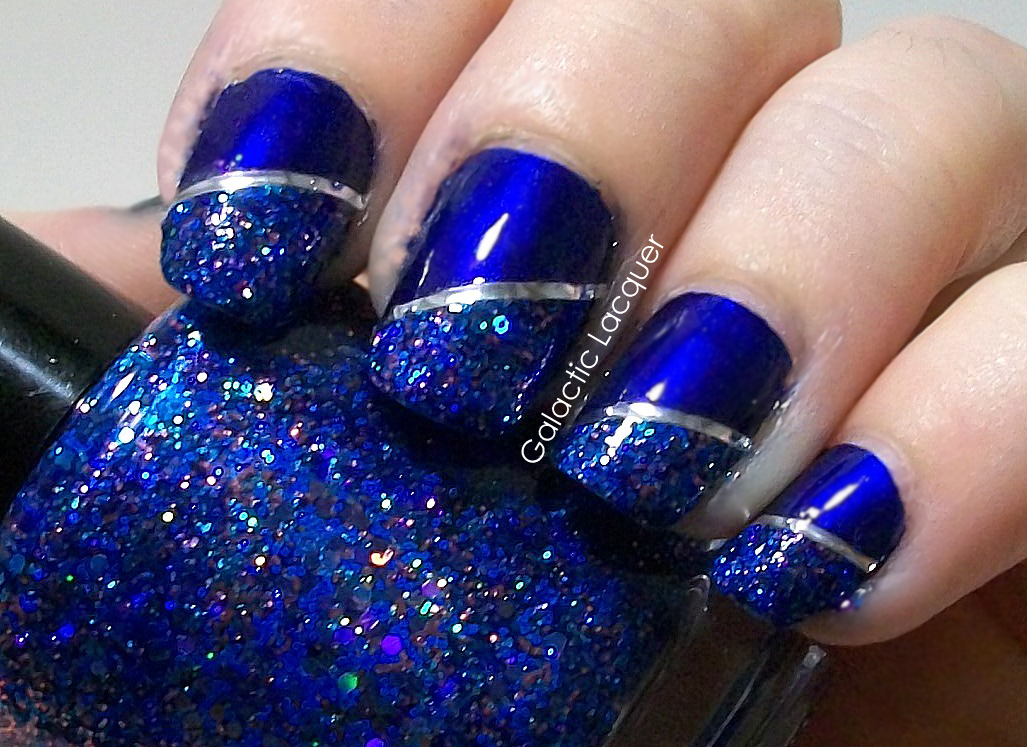 Galactic Lacquer Nail Art With Sation Midnight Blue And F4 Polish