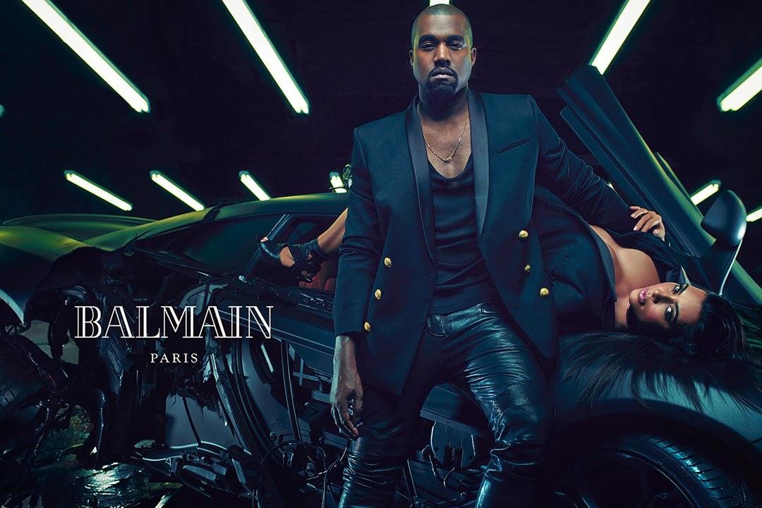 Kim Kardashian Kanye West Balmain Menswear Spring 2015