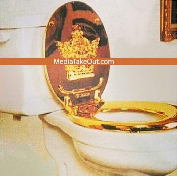 gold toilet seat cover. YMCMB  Tyga Pimps Toilet Sit with 22 carat Gold Worth 46 000