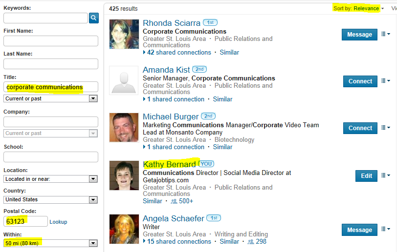 LinkedIn advanced people search, search LinkedIn by title, see how high up you come up in LinkedIn search,