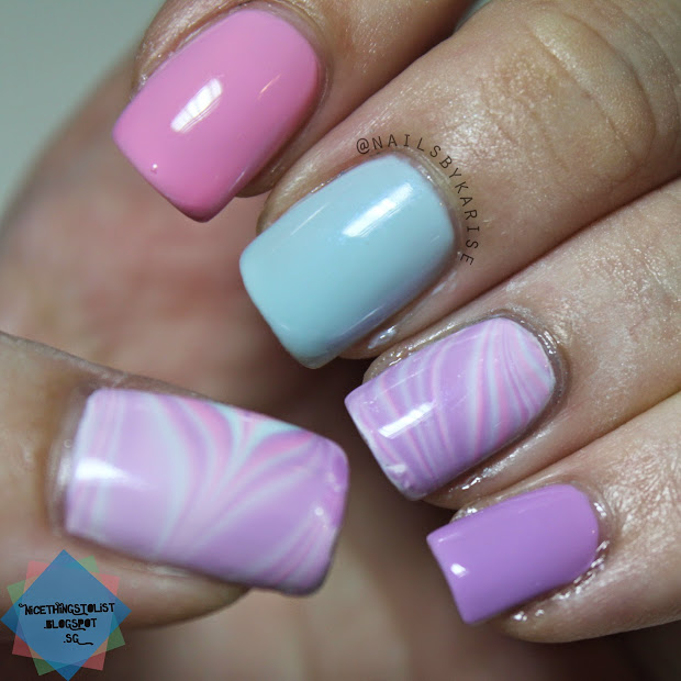pastel candy water marble nail