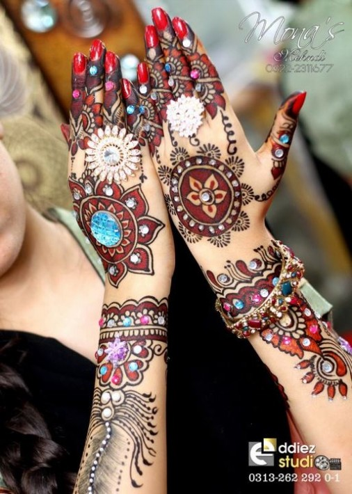 Beautiful Indian Bridal Wedding New Mehndi Designs Embroidery Dulhan