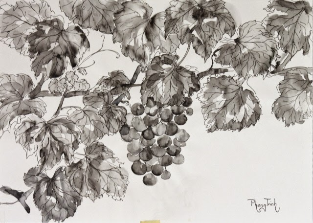 Beautiful  pen and brush work, watercolor on paper, 42x29.5cm