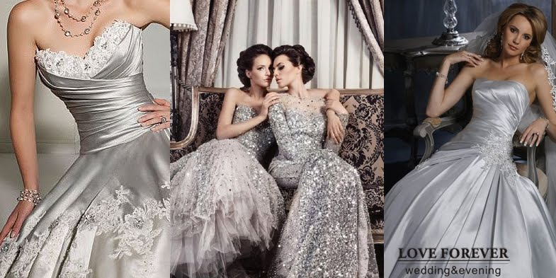 Stunning silver wedding dresses junglespirit Image collections