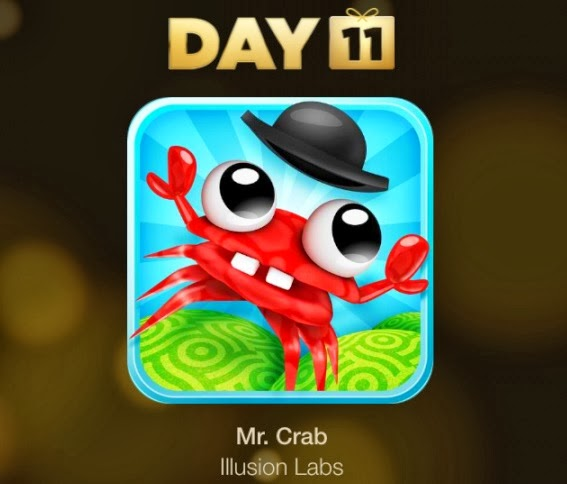 Day 11 of the 12 Days of Gifts is Mr. Crab. Mr. Crab is a popular vertical arcade game for iOS. Download right away from the download link below