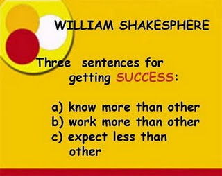 The sentence for   getting success:  a) know more than other  b) work more than other  c) expect less than other