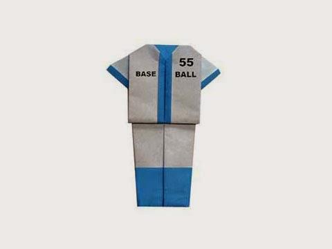 Cách gấp, xếp quần áo bóng chày bằng giấy origami - Video hướng dẫn xếp hình quần áo - How to fold a Baseball Uniform