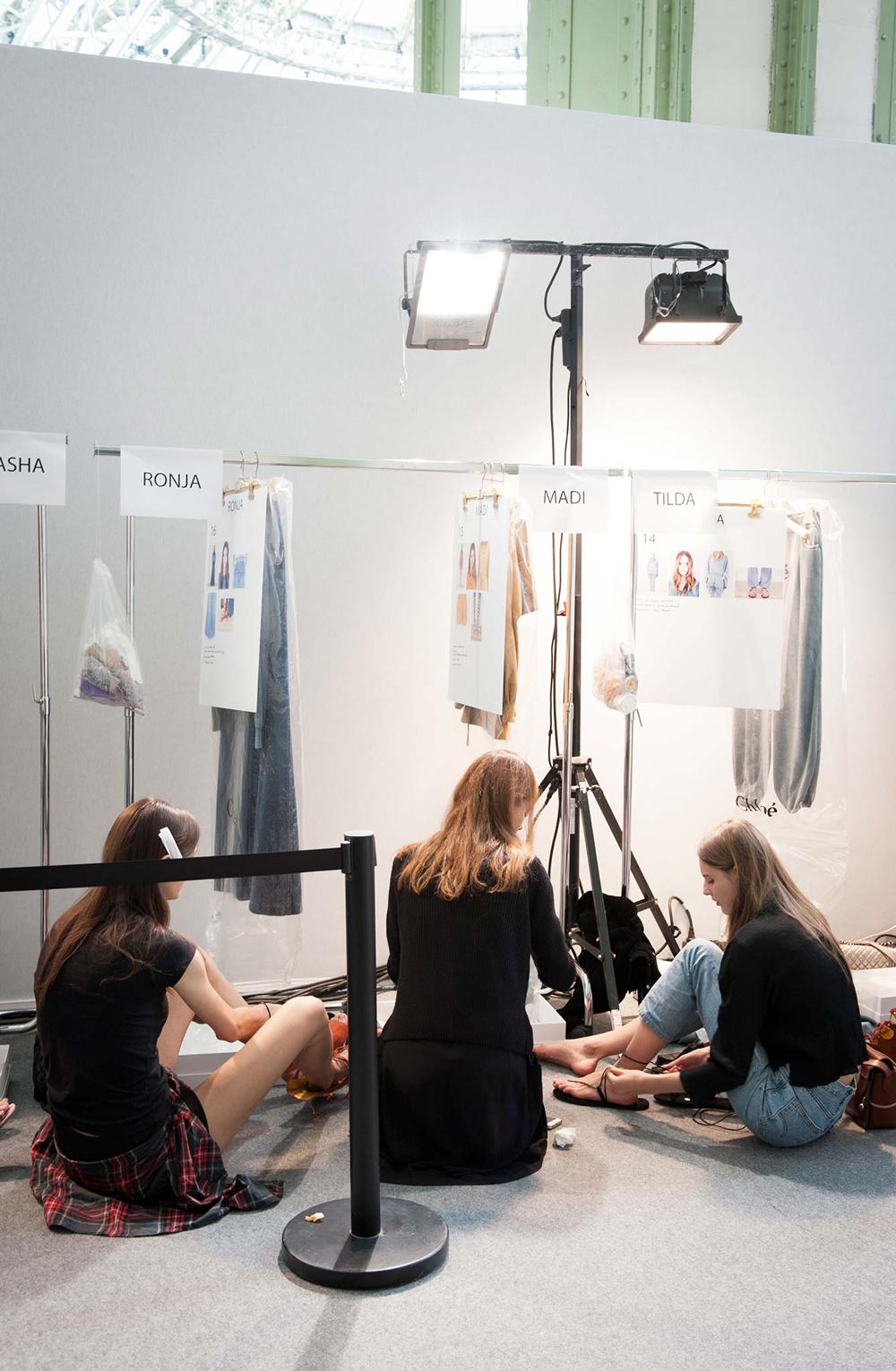 models backstage at Chloe Spring/Summer 2015 via style.com