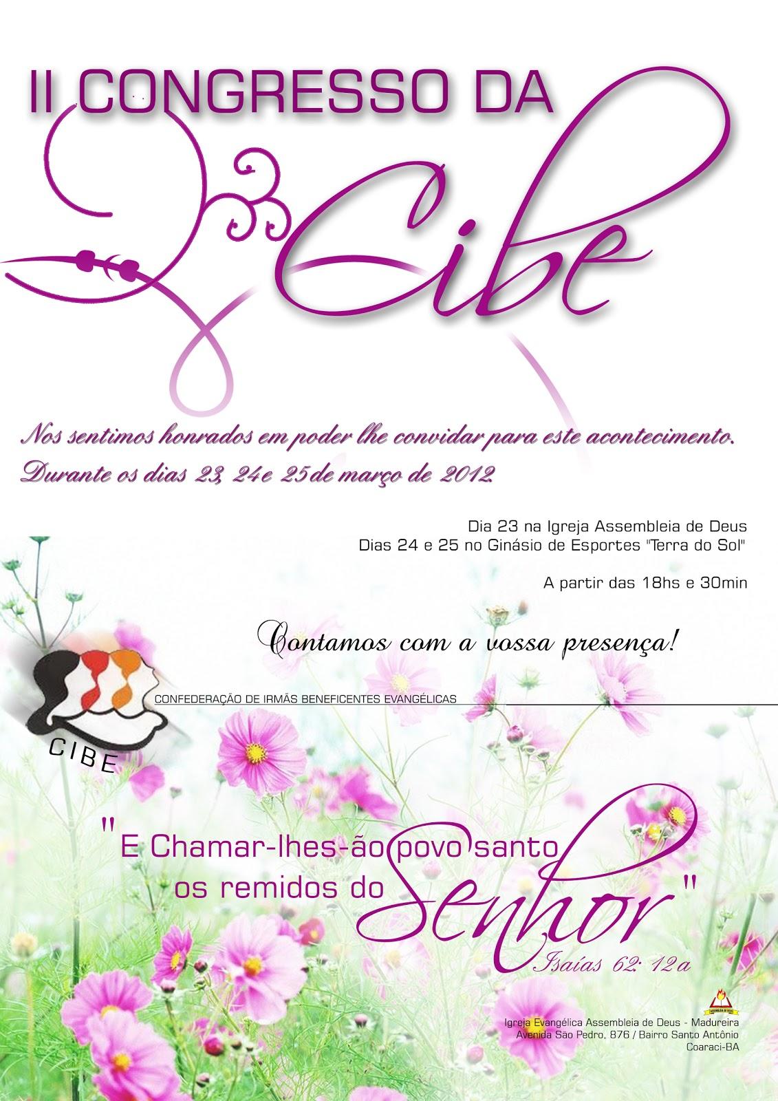 Madureira em Coaraci: II Congresso da CIBE - CONVITE
