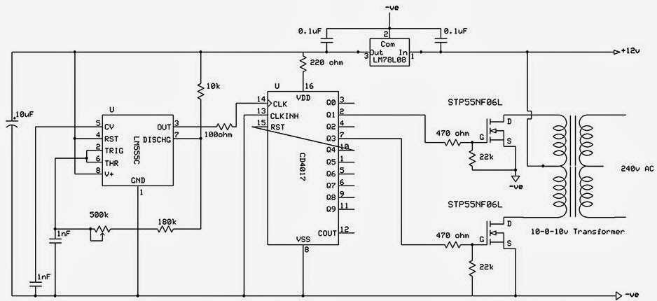 DC 12V to AC 220V Modified Sine Wave Inverter Circuit Diagram
