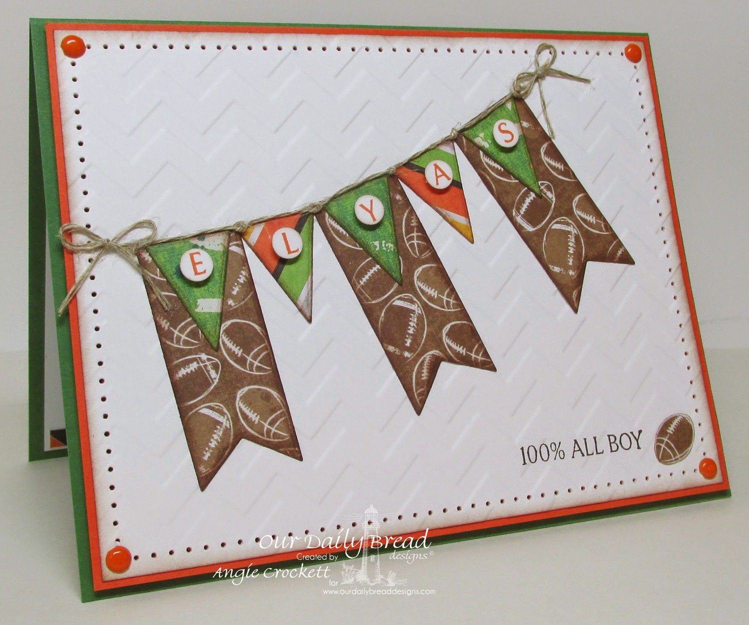 ODBD Custom Pennants Die Set, Pennant Swag Alphabet, Little Boys, Card Designer Angie Crockett