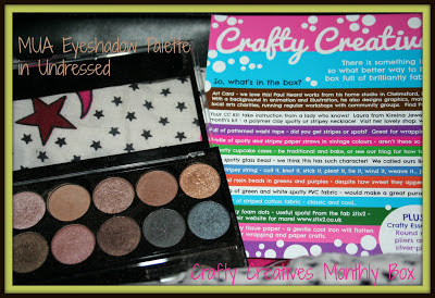 a photo of MUA Eyeshadow palette in Undressed and the art card from Crafty Creatives monthly craft box