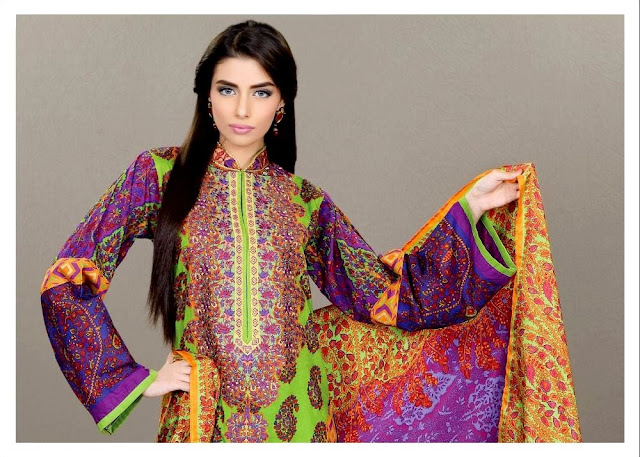 Umar Sayeed Collection 2013-14 By Alkaram Textile Embroidered Dresses For Women & Girls Fashion