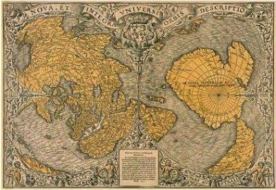 El mapa de O. Phinea, on es veu la Hiperborea i l'Antartida alliberada del gel (que pot correspondre a l'antiguitat de 24-13 milions anys)