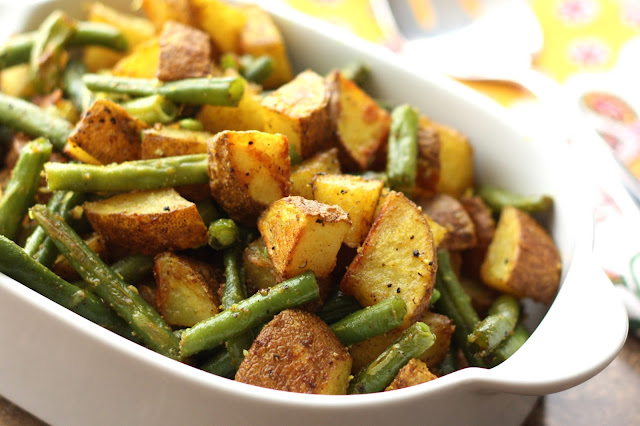 Turmeric Roasted Green Beans and Potatoes recipe by Barefeet In The Kitchen
