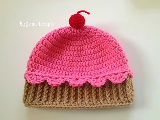 crocheted cupcake hat pattern, free pattern on Ravelry http://jeanniegrayknits.blogspot.com/