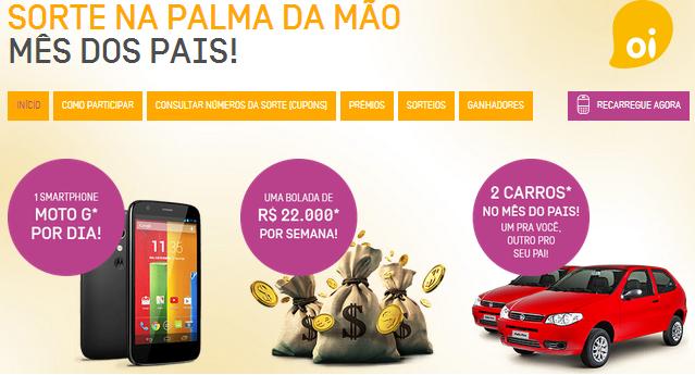 """Promoção OI - """"SORTE NA PALMA DA MÃO"""""""