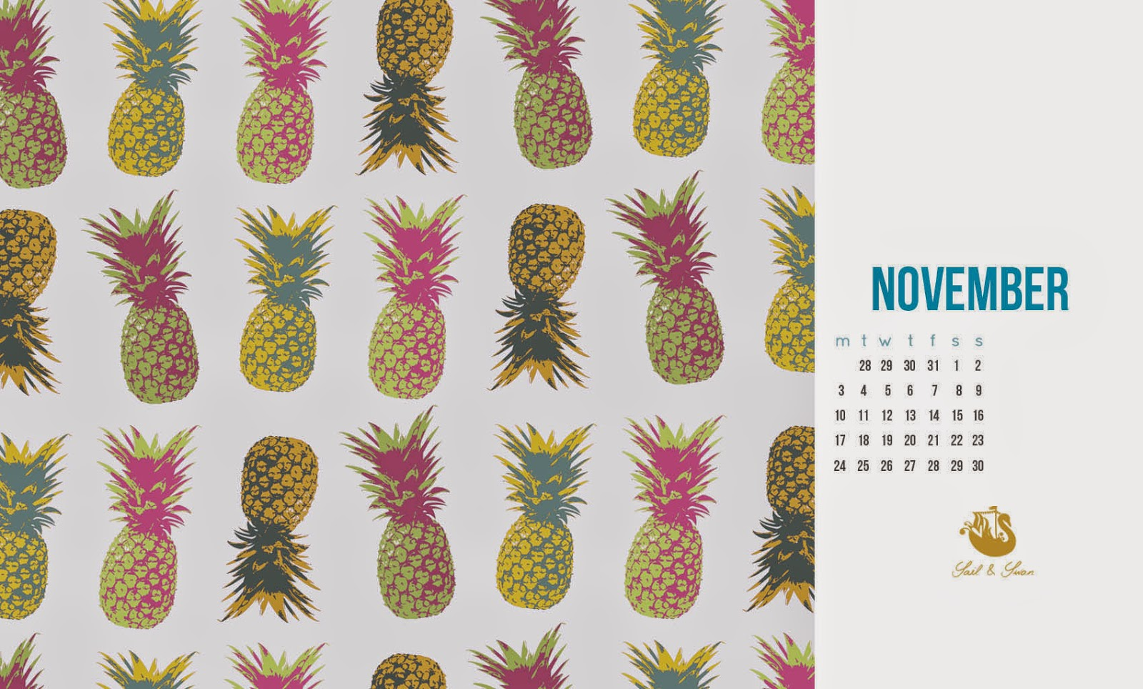 free desktop background pineapple pattern sail and swan