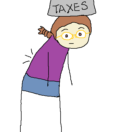 """Me, hunched over under a heavy weight labelled: """"Taxes"""", that is sitting on my head."""