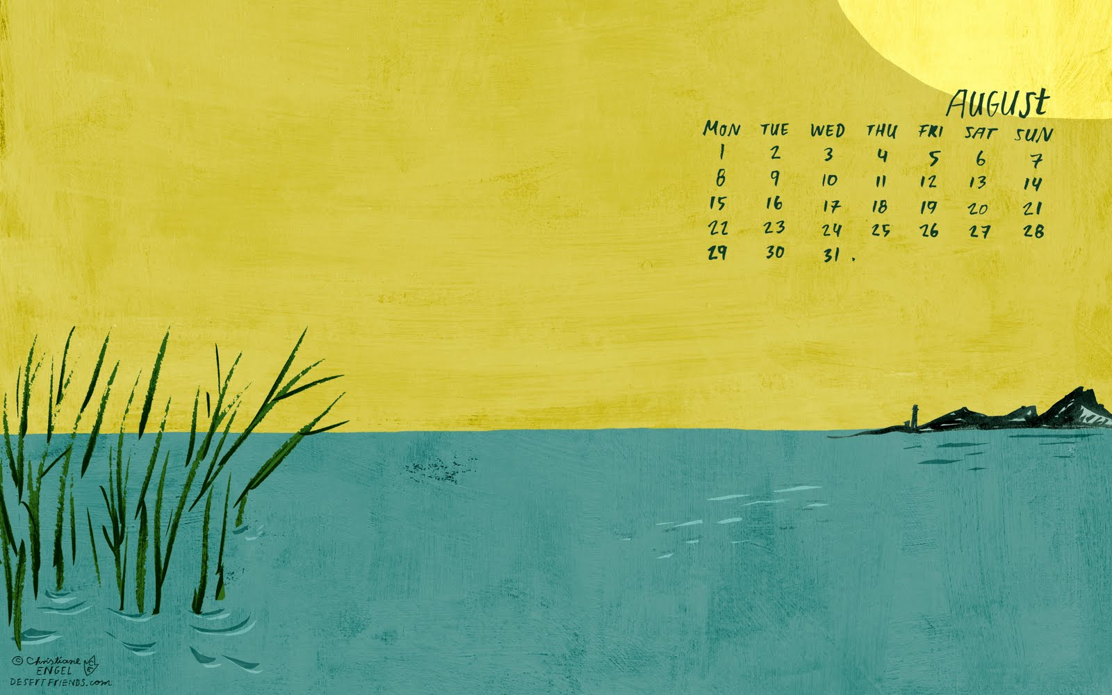 Hello August! Imaginary Regeneration On A Summer Island... For You To  Download To Use As A Desktop Wallpaper Calendar. Please Note That This Work  Is ...