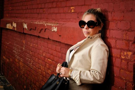 Prada Baroque Round Sunglasses, Calvin Klein Women's Whinnie Python Pump, Banana Republic White Leather Jacket, Forever 21 Black Pleated Skirt, Tory Burch Robinson Double Zip Tote, Forever 21 Bold Rhinestoned Bracelet