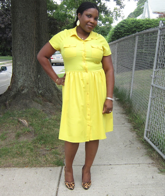 yellow, dress, leopard pumps