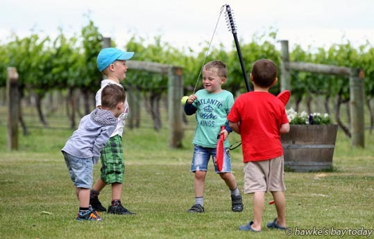 Children play swingball at Picnic in the Vines, Te Awa Winery, SH50, Hastings, a F.A.W.C! (Food and Wine Classic) event photograph
