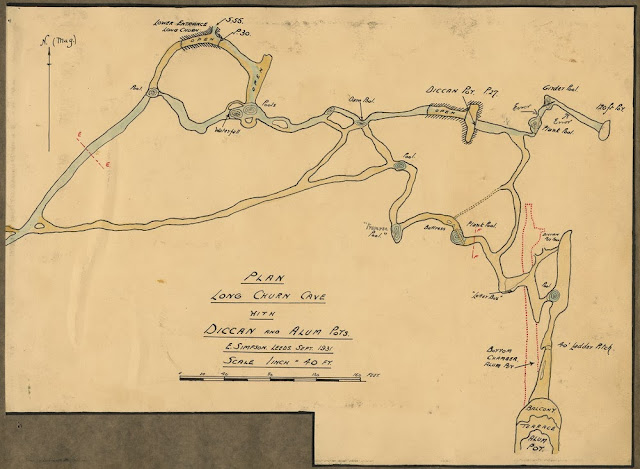 Plan of Long Churn Cave with Diccan and Alum Pots H.W. Haywood Collection. Leeds Cave Club.