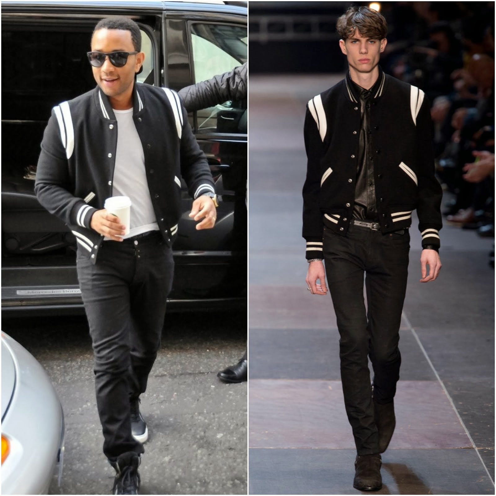 John Legend in Saint Laurent by Hedi Slimane varsity jacket - BBC Radio 2 Appearance | 00O00 Menswear Blog / 00000 Blog ooooo blog London