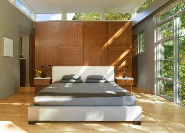 wooden wall panels inside bedroom. Beautiful wooden wall panels as an elegant accent wall   Dolf Kr ger
