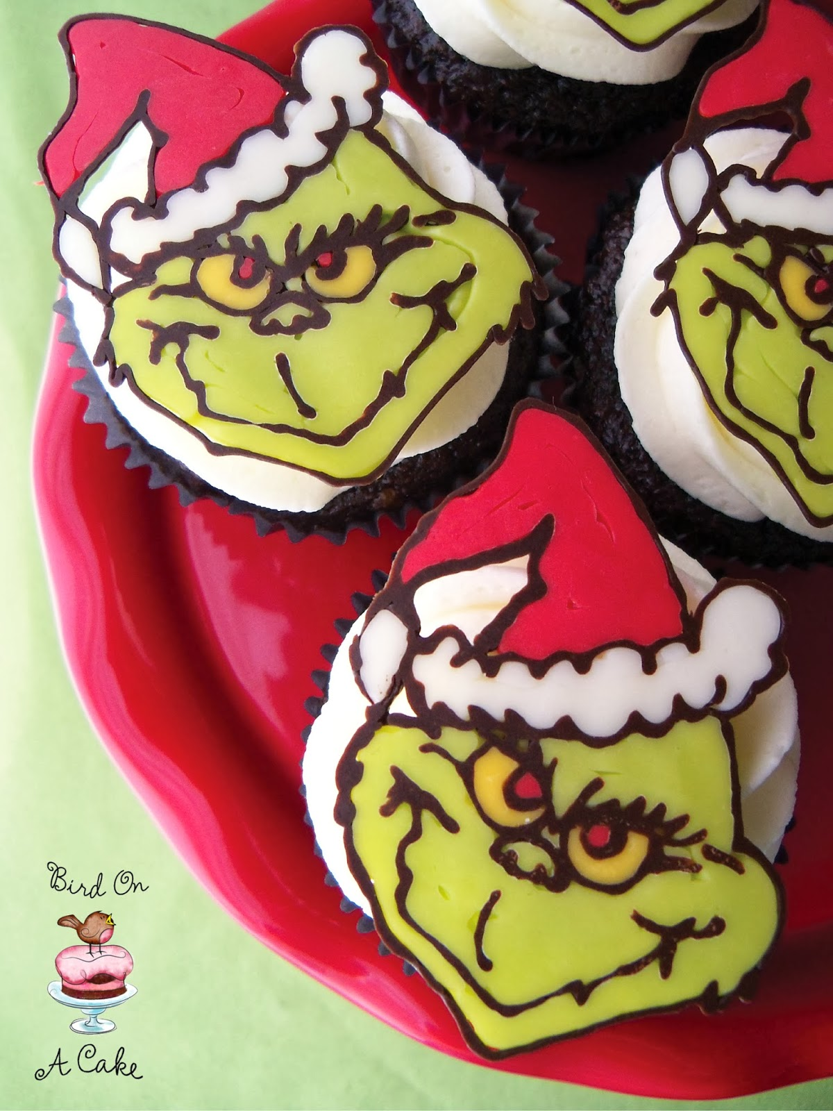 Bird On A Cake: Grinch Christmas Cupcake Toppers